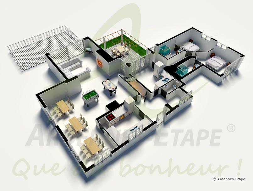 Luxueuse villa 15 personnes avec piscine int rieure for Maison moderne de luxe plan