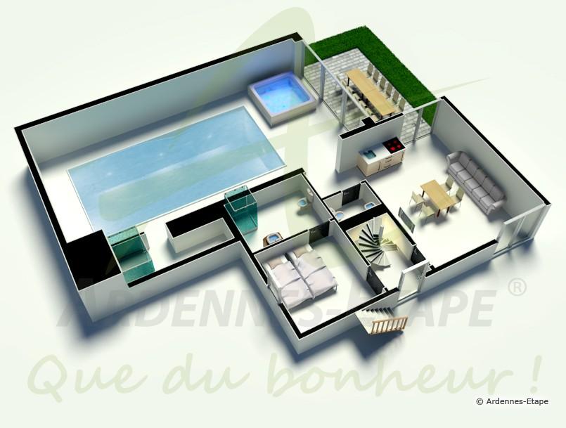 Elegant des pices dans la maison de vacances with plan de villa de luxe for Plan villa de luxe