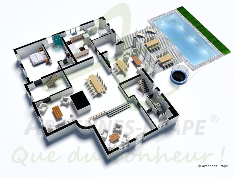 Maison Plan 3D. Excellent Plan Maison Carree Chambres With Maison