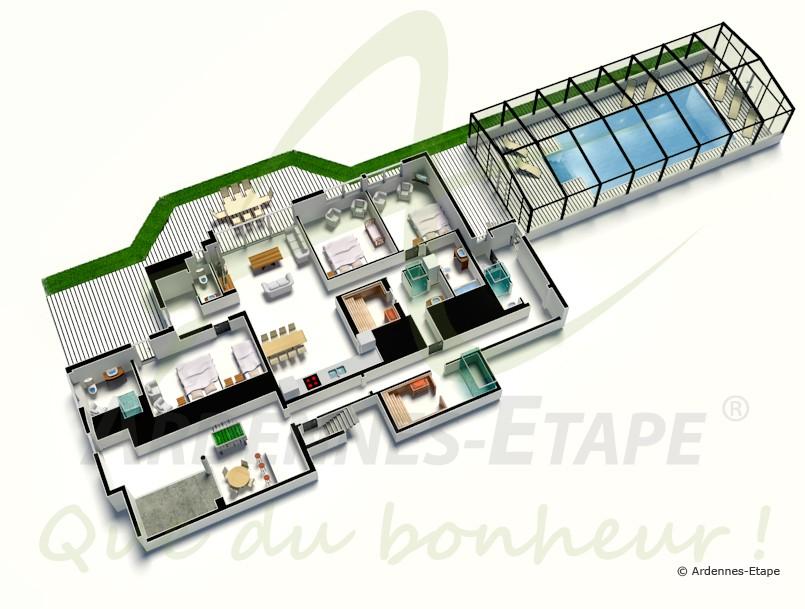Villa de luxe avec piscine wellness et vue panoramique stavelot for Salle de bain 3d en tunisie