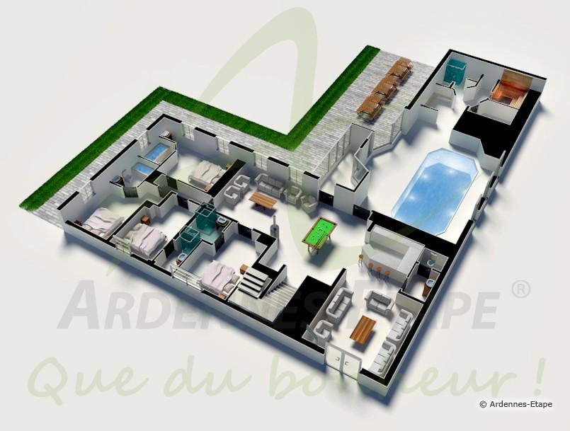 Plan de maison avec piscine villa avec piscine loix with for Piscine sauna hammam marseille