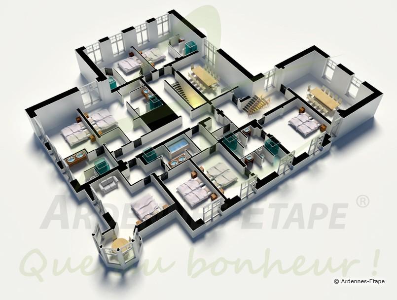 schloss mit schwimmbad und wellnessbereich f r 30 personen in stoumont. Black Bedroom Furniture Sets. Home Design Ideas