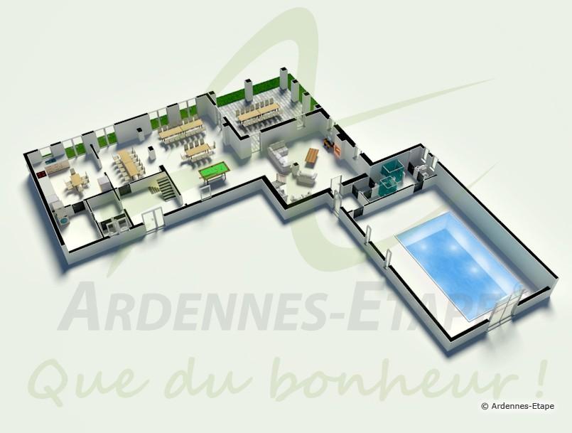 Jolie villa de luxe avec piscine pour 24 pers durbuy for Plan de maison de luxe avec piscine