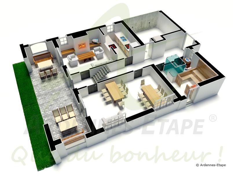 Villa de luxe avec espace wellness pour 11 personnes for Maison moderne de luxe plan