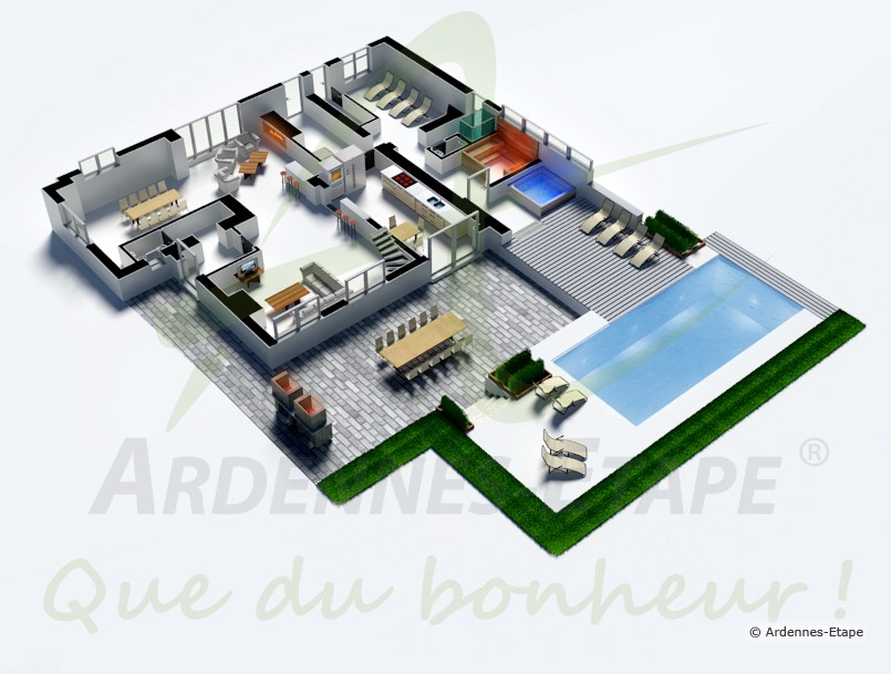 Villa de luxe pour 14 pers avec jardin piscine et for Plan de villa 3d