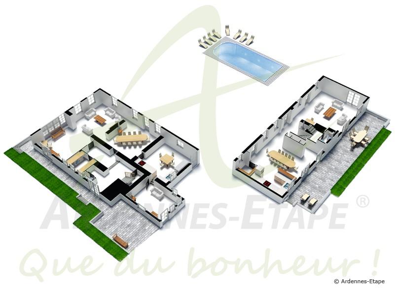 h bsches ferienhaus mit swimmingpool f r 26 personen in yvoir. Black Bedroom Furniture Sets. Home Design Ideas