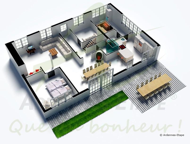 Villa de vacances de luxe pour 12 personnes louer for Maison moderne de luxe plan
