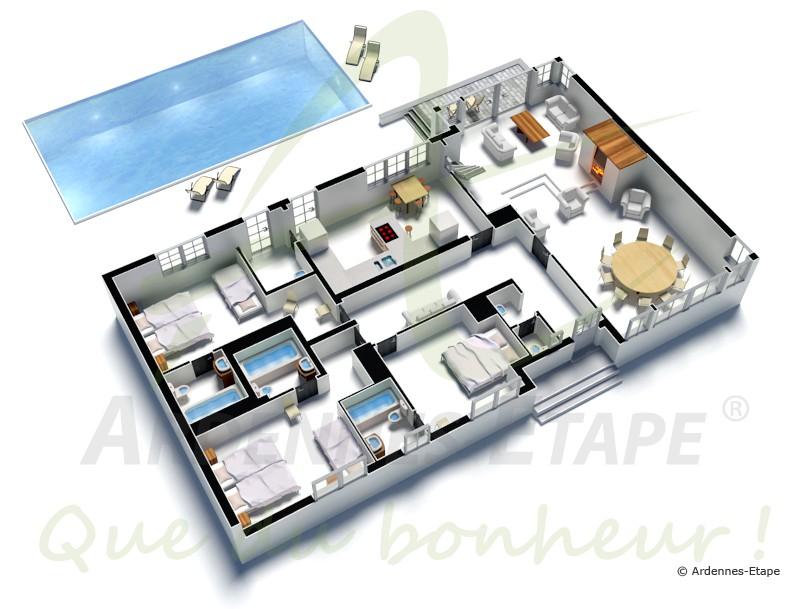 Villa de luxe avec piscine ext rieure villers sur lesse for Maison moderne de luxe plan